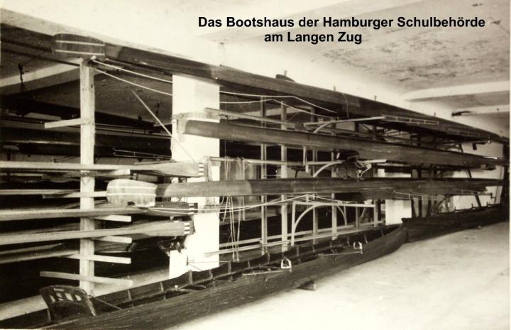 Hamburger Schüler-Ruderverband, Blick in die Bootshallen des Bootshauses kurz nach dem Wiederaufbau